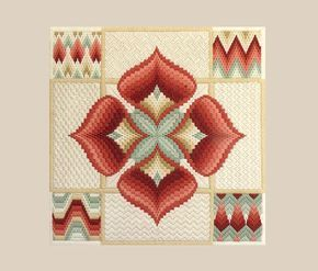 Con su paleta de colores maravillosamente cálido bordado exquisito y moderno estilo geométrico, este trabajo de pieza y encaje de aguja muy intrincado arte impresionará a cualquier persona interesada en trabajar con aguja e hilo. Esta pieza es un magnífico ejemplo de estilo moderno que fue popular en la década de 1970 y sigue siendo hoy en día. Se ha montado profesionalmente a una tabla de base de espuma y fue tal vez una muestra de la tienda. Está esperando su elección de una alfombra de…