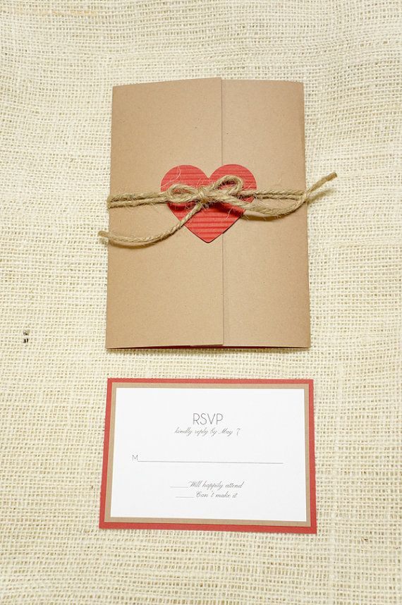 Rustic Wedding Invitation Heart and Twine by