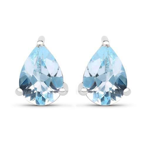 Natural 1.64CT Pear Cut Baby Blue Topaz Solitaire Stud Earrings