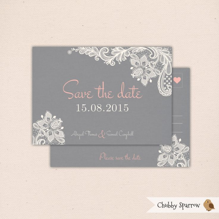 DIGITAL Grey Lace & Linen Wedding Engagement Save the Date Postcard - Print at home – Vintage, Rustic and Romantic by ChubbySparrow on Etsy