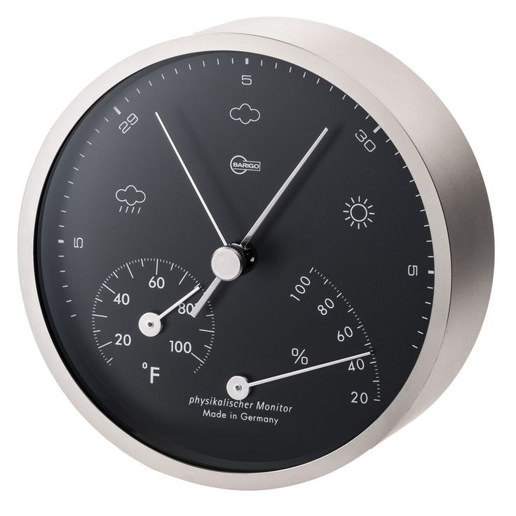 "BARIGO Pentable Series Barometer / Thermometer / Hygrometer - Wall Plated Nickel Housing - 4"" Black Dial"