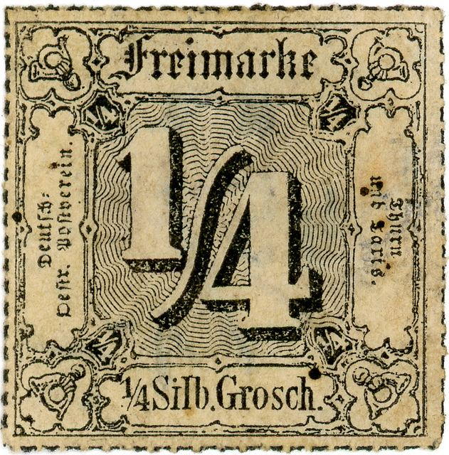 German state postage stamp: Thurn and Taxis 1/4, via Flickr.