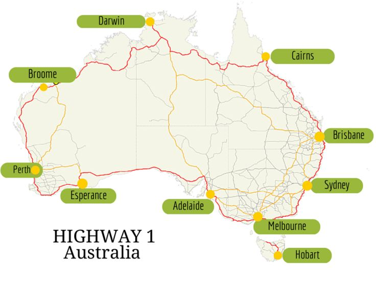 Highway 1 Australia How long does it take to drive around? see here http://www.outbackcrossing.com.au/Touring/How_Long_Does_it_Take_to_Travel_Around_Australia.shtml
