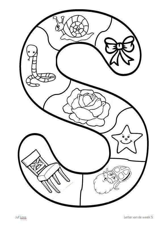Letter van de week: S De prentjes inkleuren, puzzelstukken uitknippen en dan op een ander blad de puzzel opnieuw maken en vastlijmen.