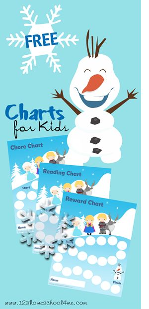 Free Frozen Charts for kids are such a fun way to track Chores, Reading books, and many other things with a fun Anna, Elsa, and Olaf them.