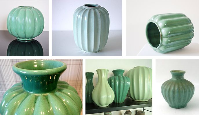 """Grön, stor """"klyftvas"""" i den här stilen, från Upsala Ekeby, Gefle eller Bo Fajans"""