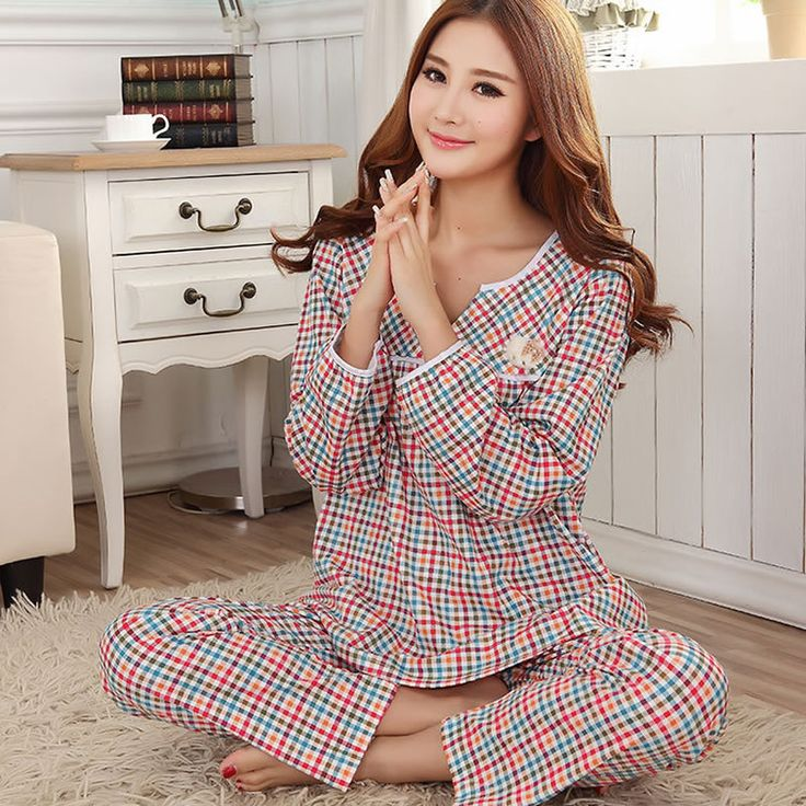 Polyester & Cotton Winter Pajama Set, different size for choice, top & bottom