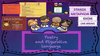 Common Core AlignedThis colorful and fun powerpoint includes practice and information for poetry and figurative language. Vocabulary and definitions: poetry, free verse, meter, rhyme, stanza, line breaks, figurative language, metaphor, alliteration, hyperbole, idiom, personification, onomatopoeia, and simile.Included:`History of Poetry`Difference between prose and free verse chart`Some famous poets and their poems(Shel Silverstein, Walt Whitman, Maya Angelou just to name a…