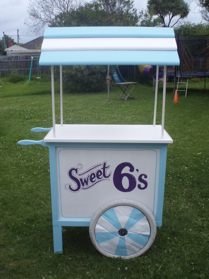 "Lolly Cart. Candy Cart. This could be any market stall display cart or advertising centre piece. A  project built for my daughter's class graduation, themed ""Sweet 6's"""