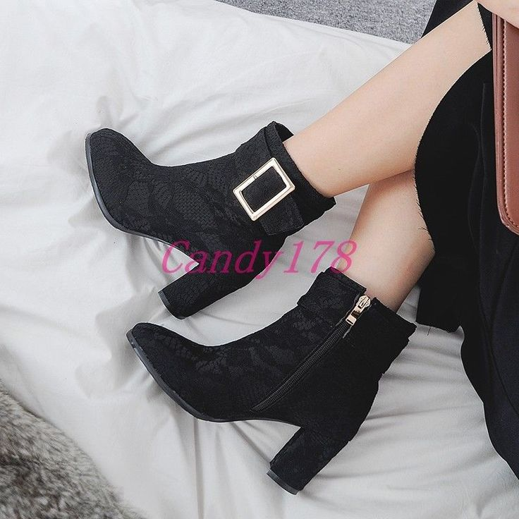 Ladies Elegant Lace Ankle Boots Buckles Paillette Chunky Heels Shiny Formal Shoe