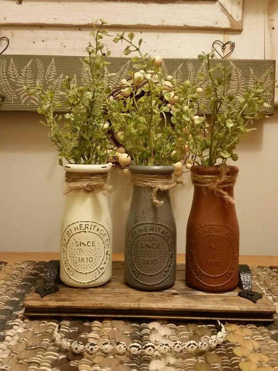 Bottle Centerpiece Milk Bottle Decor Vase Centerpiece Country