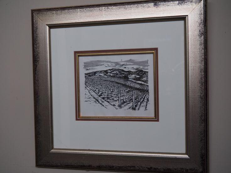 Art work for original pinot gris label by Julian Ransom