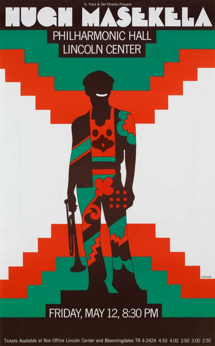 Hugh Masekela at Philharmonic Hall, May 12, 1972. Poster by Milton Glaser