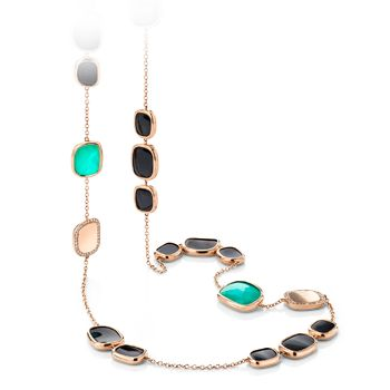Black Jade necklace in 18kt rose with green agate, black jade and diamonds. Available at Hingham Jewelers!