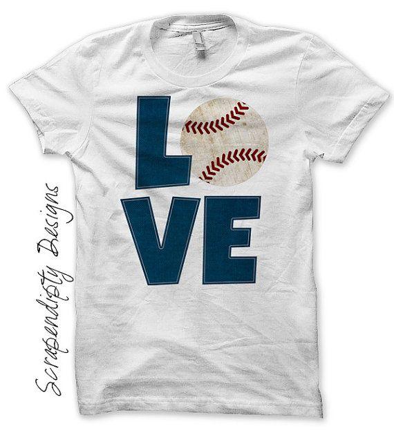 Baseball Iron on Transfer - Iron on Baseball Love Shirt PDF / Kids Boys Sports Tshirt / Customized T-Ball Shirt / Womens Mom Tee by ScrapendipityDesigns on Etsy, $2.50
