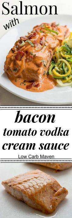This Salmon with Bacon Tomato Vodka Cream Sauce is an easy recipe that delivers sophisticated flavor from common ingredients and requires just one pan! It's a beautiful low carb recipe and perfect for any LCHF or keto diet!