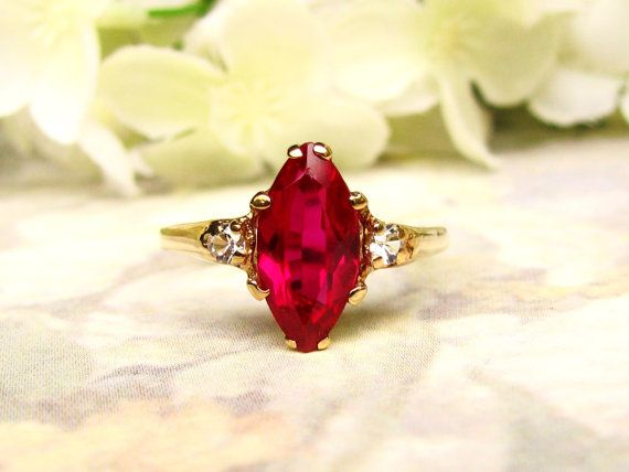 Vintage Engagement Ring 1.62ct Marquise Cut Synthetic Ruby Ring 10K Yellow Gold Ruby Wedding Ring Alternative Engagement Ring Size 7!