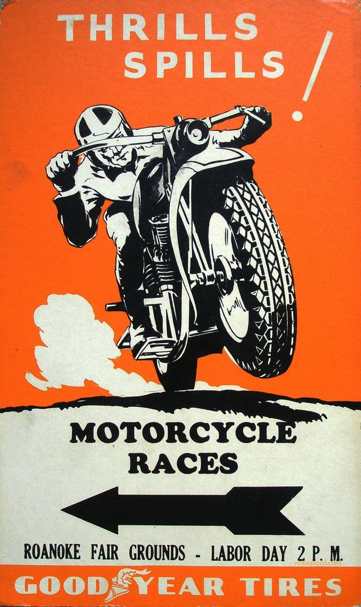 thrills and spills motorcycle racing roanoke va vintage poster art print retro style classic moto racing advert free us post low eu post