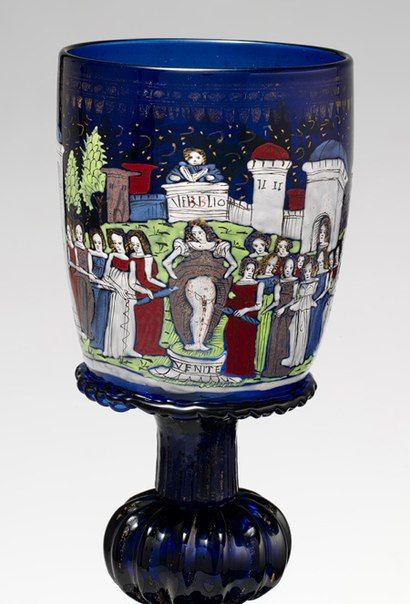 Wineglass or sweetmeat cup (confittiera) with scenes of Virgil and Febilla, ca. 1475–1500 Venice (Murano), Barovier Glass House Enameled and gilded glass; 8 1/2 x 4 7/8 in. (21.6 x 12.4 cm) Inscribed: VERBLIO; VENITE Metropolitan Museum of Art, New York