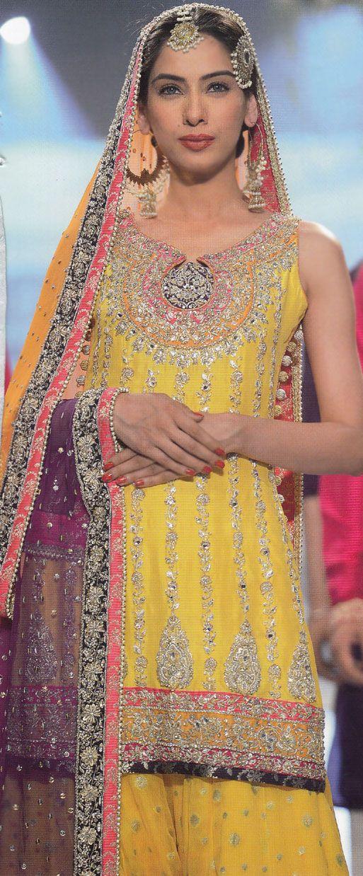 Buy Yellow/Dark Purple Embroidered Crinkle Chiffon Mehndi Dress by PakRobe.com