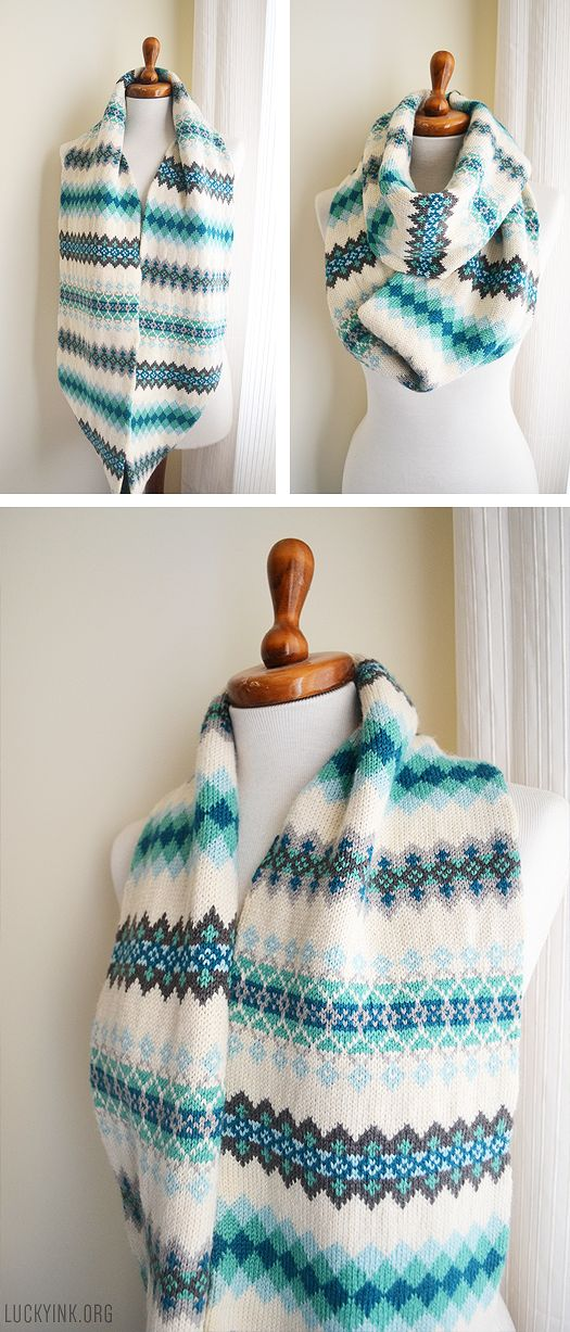 Fair Isle Colorwork Scarf by LuckyInk.org #Knit #Knitting #Knitted #Ravelry #Handmade #FairIsle #Scarf #Cowl #Colorwork