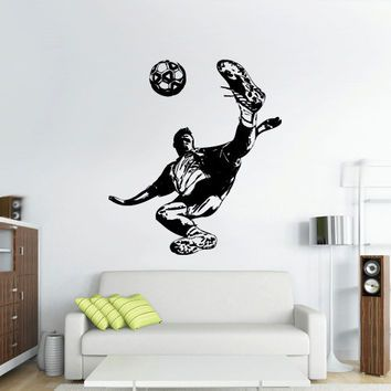 Wall Vinyl Sticker Decals Decor Art Bedroom Design Dorm Kids Nursery Keeper Football Sketch Player Soccer Sport (z3066)