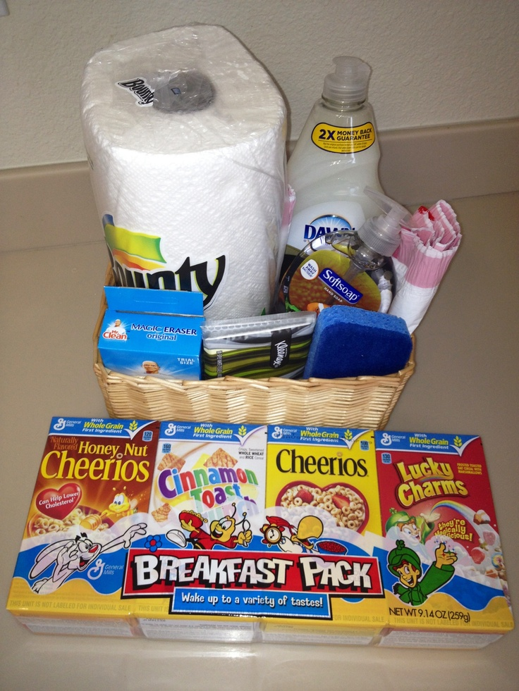 Pcsing Or House Warming Gift Basket Just A Few Things One Might Need After Long Drive To Their New Home Paper Towel Dish Soap Hand Trash Bags