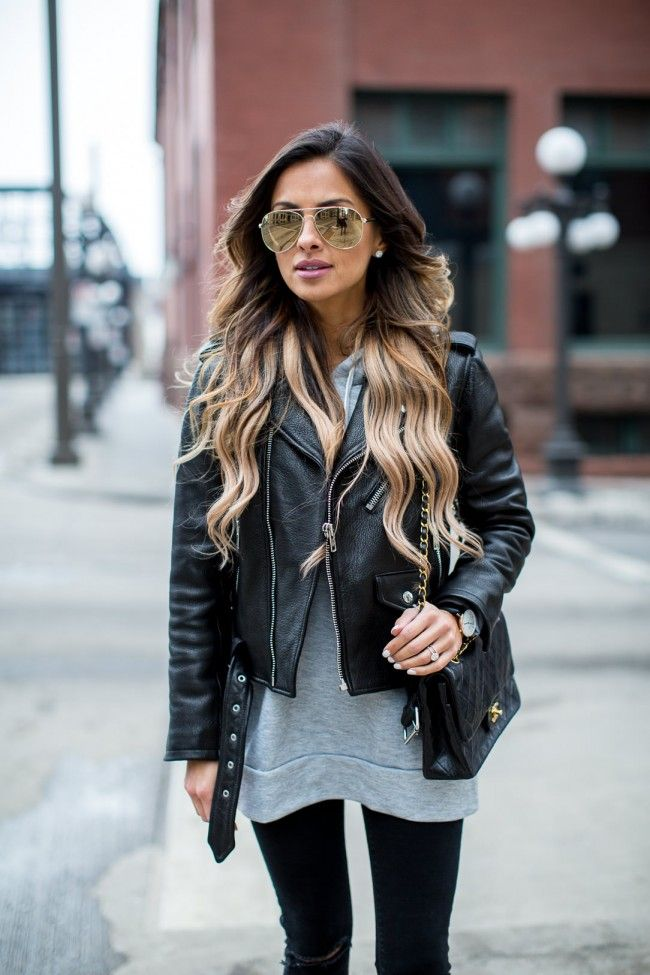Asos Gray Hoodie. kate spade new york Leather Jacket. Topshop Black Jeans. Le Specs Gold 'Drop Top' Sunglasses.