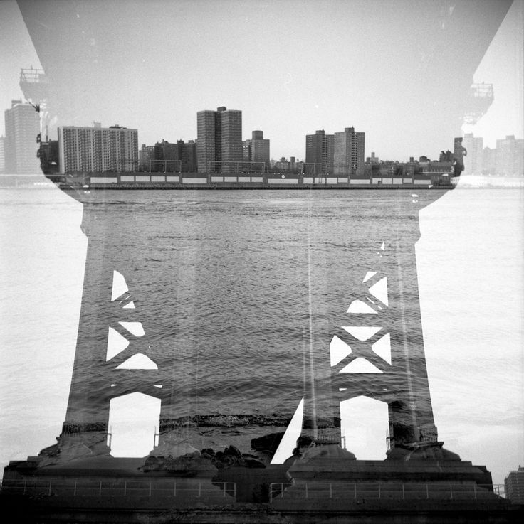 dumbo: bridge and river, double exposed.