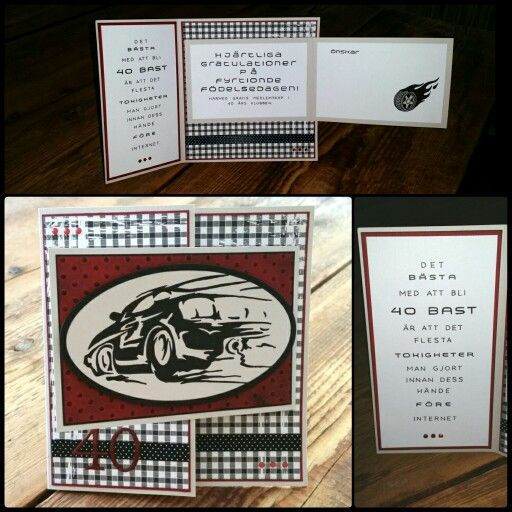 Skapade detta kortet till en man som gillar rally. bil, däck och text handgjort. Made this tri folded card for a man that loves rally.  CS Reprint /Paper Accents Mystique, Macintosh and black.  Distress Tim Holtz Black soot. DP Panduro basic pattern Black square.  Embossing folder small dots from Sizzix. Numbers alphabet cuttlbebug Olivia embossed with clear powder Reprint. Car, tire and text handmade by me Kirsi Arvidsson.