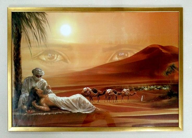 Romantic Desert - plakat oprawiony w złotą drewnianą ramę