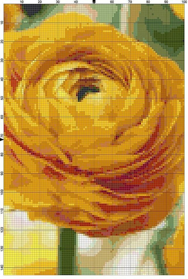 Cross Stitch Pattern Yellow Buttercup Ranunculus Garden Flower Cross Stitch Design Chart PDF File Instant Download by theelegantstitchery on Etsy