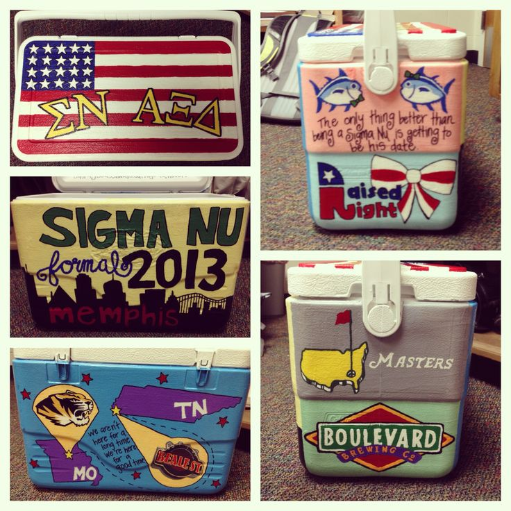 Painted fraternity cooler for my boyfriends formal. DIY
