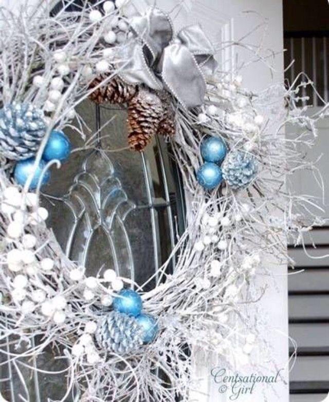 White grape vine wreath for the holidays