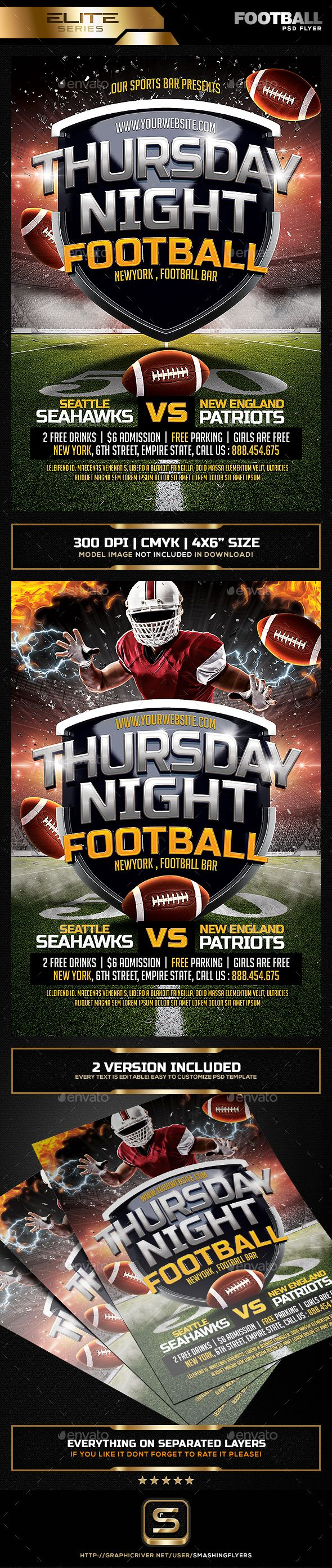 Thursday Night Football Flyer Template PSD. Download: http://graphicriver.net/item/thursday-night-football-flyer/14537353?ref=ksioks