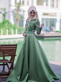 Taffeta Evening Dress - Powder - Muslim Evening Dresses - Modanisa