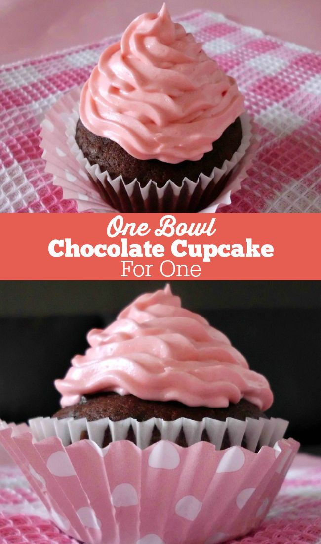 One-Bowl Chocolate Cupcake for One Recipe - an amazingly deliciously rich chocolate cupcake made in just one bowl and in 30 minutes. Perfect for when you just want one cupcake and not a whole batch!