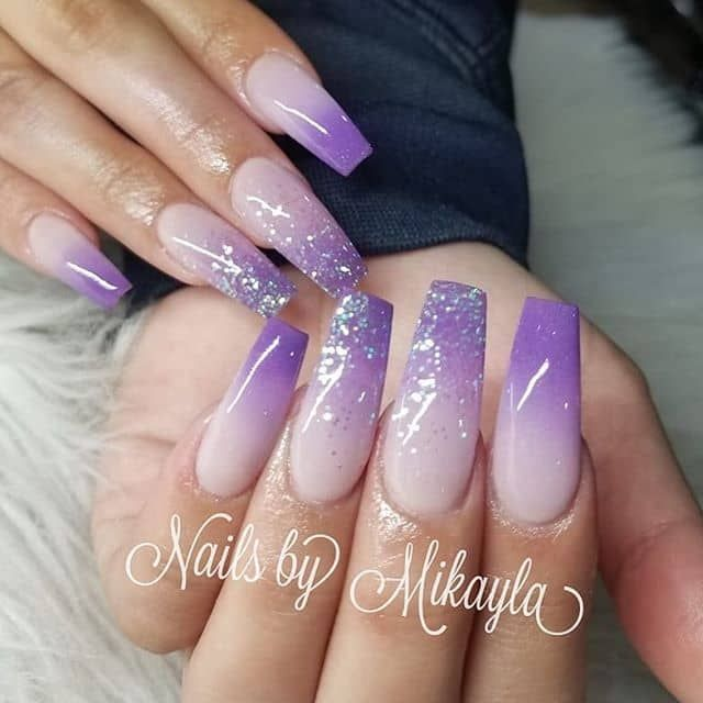 50 Cool Glitter Ombre Nail Design Ideas That Are Trending In 2020 Ombre Nails Glitter Lilac Nails Purple Ombre Nails