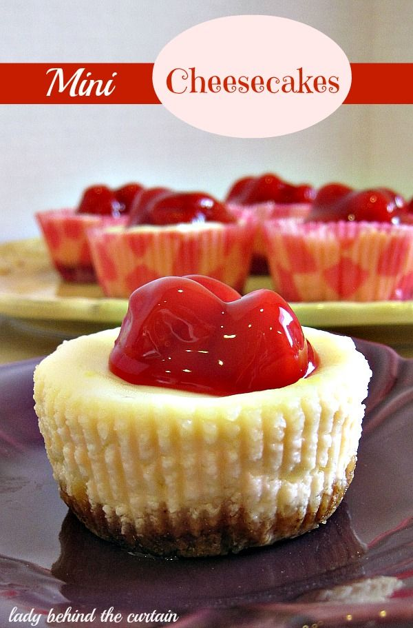 These cheese cakes are the perfect size for entertaining. I used cherry pie filling on top but you can choose any topping; fresh, canned or frozen. There are four levels to these little gems. The crust, filling, glaze and the fruit topping. YUM!