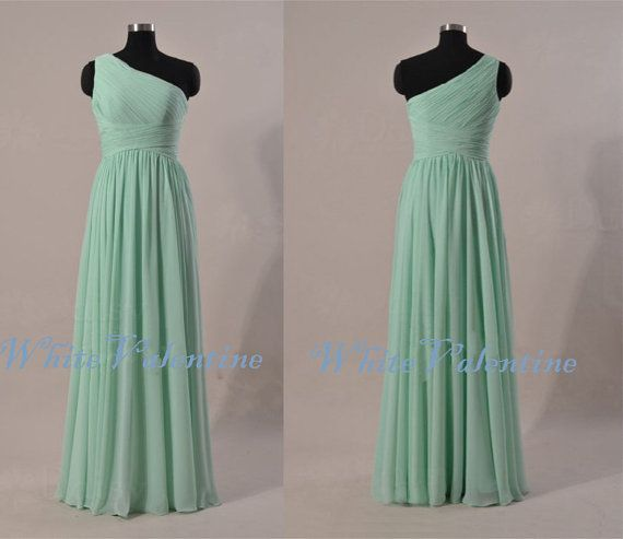 This one looks affordable and its really pretty  Long Dark Mint Bridesmaid Dress Oneshoulder by WhiteValentine, $79.00-- For Jacky?