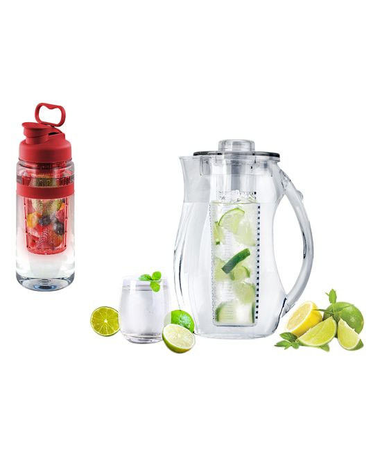 Red Fruit-Infuser 32-Oz. Water Bottle & 2.5-L Pitcher