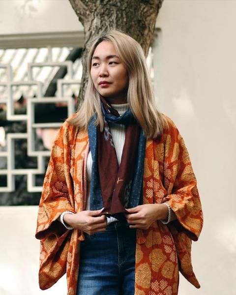 Check out these unique products by Kirikomade in Portland! Vintage Shibori Haori Jacket, Muted Orange and Yellow Floral