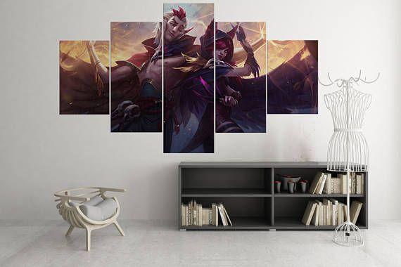 Gilles & Xayah - 5 stuk Canvas Wall Art | League of Legends Canvas Wall Art |  Kampioen schilderij | Poster | Afdrukken | Muurschildering | Decal | Decor