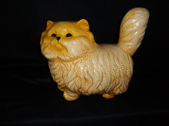 Pottery Textured Cat Figurine Yellow White Fluffy by MemmoryAlley, $22.00