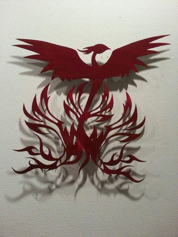 Fire Red Phoenix 24 Metal Art Sign Wall Art Etsy Wall Art Sign Art Art
