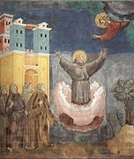 Este es un fresco de Giotto donde se muestra el Éxtasis de San Francisco de Asís. Es una pintura gótica italiana, realizada a finales del siglo XIII o comienzos del siglo XIV.