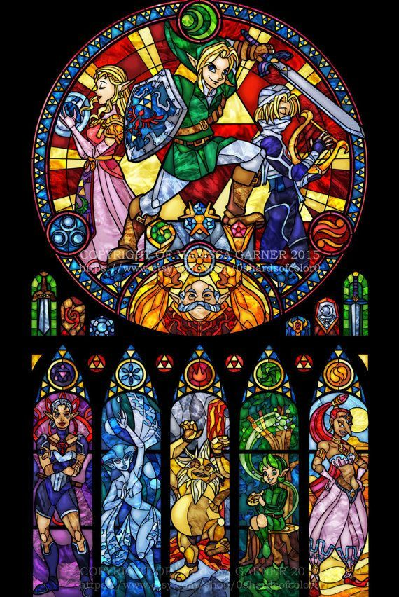 Full Size Zelda: Ocarina of Time – Stained Glass Transparency Print – Link's fac… – Isla