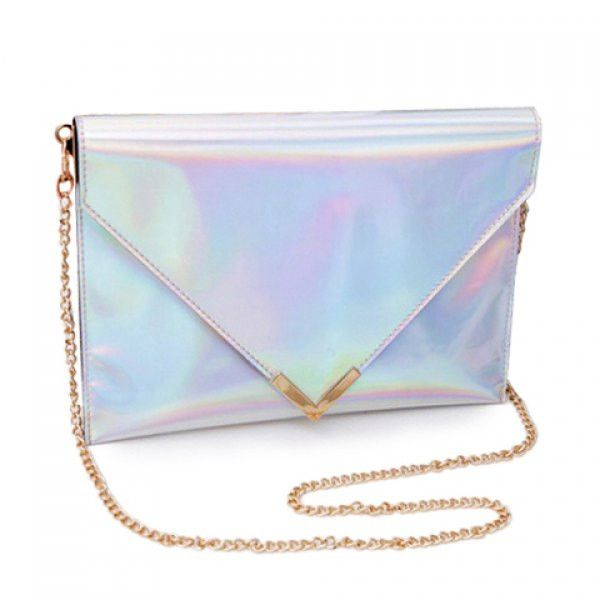 Beautiful silver holographic envelope styled clutch with gold hardware & gold chain strap that can be detatchable. MeasuresL*W*H in CM 28*2*20 Ships from New York City in 3days-2weeks due to limited s