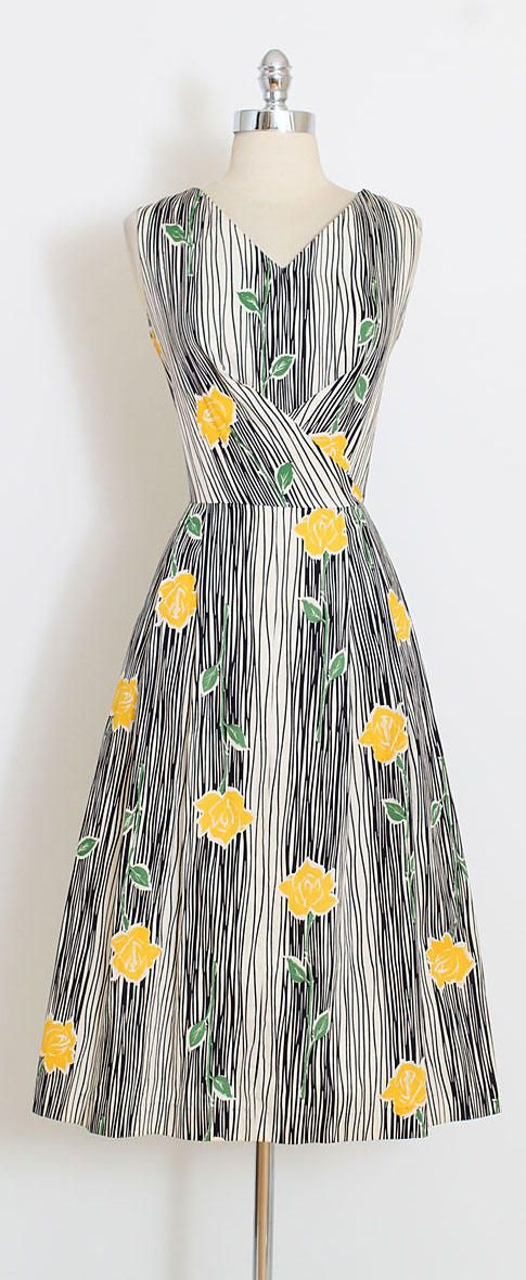 ➳ vintage 1950s dress * fantastic yellow roses print * John Wolf cottons * dead stock never worn with original tags * metal back zipper condition | excellent fits like large length 46 bodice 17 bust 40 waist 30 hips up to 50 hem allowance 1.5 ➳ shop http://www.etsy.com/shop/millstreetvintage?ref=si_shop ➳ shop policies http://www.etsy.com/shop/millstreetvintage/policy twitter | MillStVintage facebook | millstreetvintage instagram | mill...