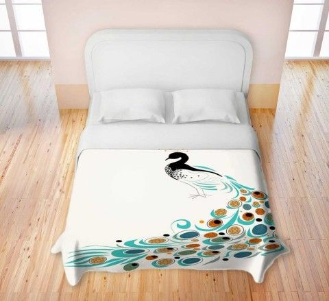 Amazon.com - Duvet Cover Brushed Twill from DiaNoche Designs by Marci Cheary Home Decor and Bedding Ideas - Peacock II - Childrens Duvet Covers